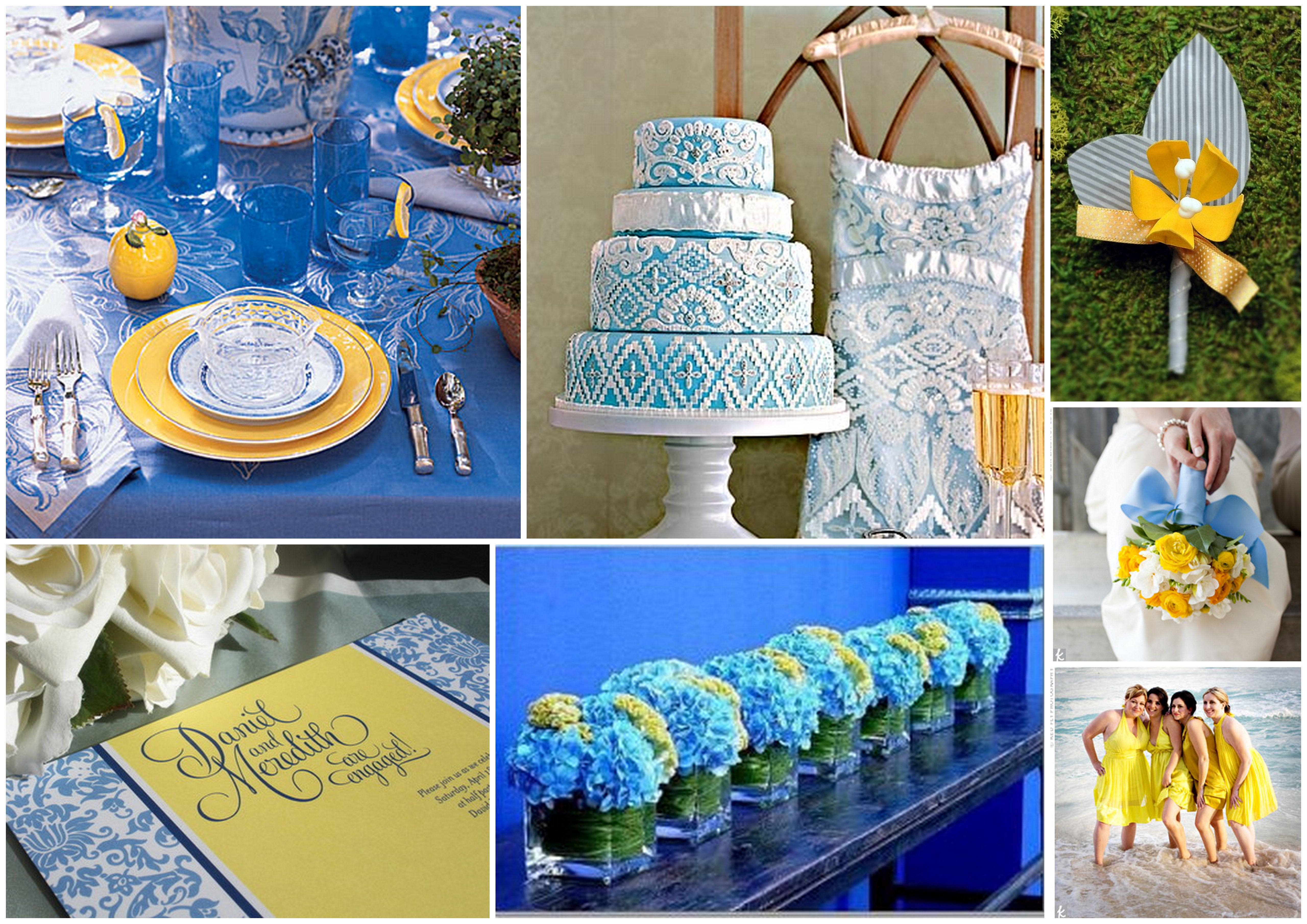 Wedding Decoration on Blue and Yellow Color Palettes